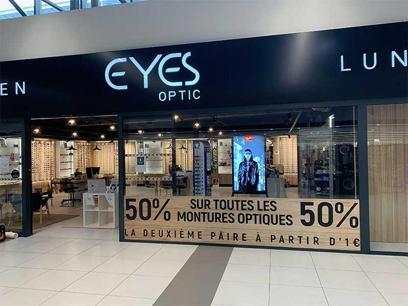 Enseigne lumineuse et habillage de vitrine - Eyes Optic